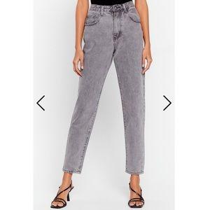 Nasty Gal high rise grey boyfriend jeans